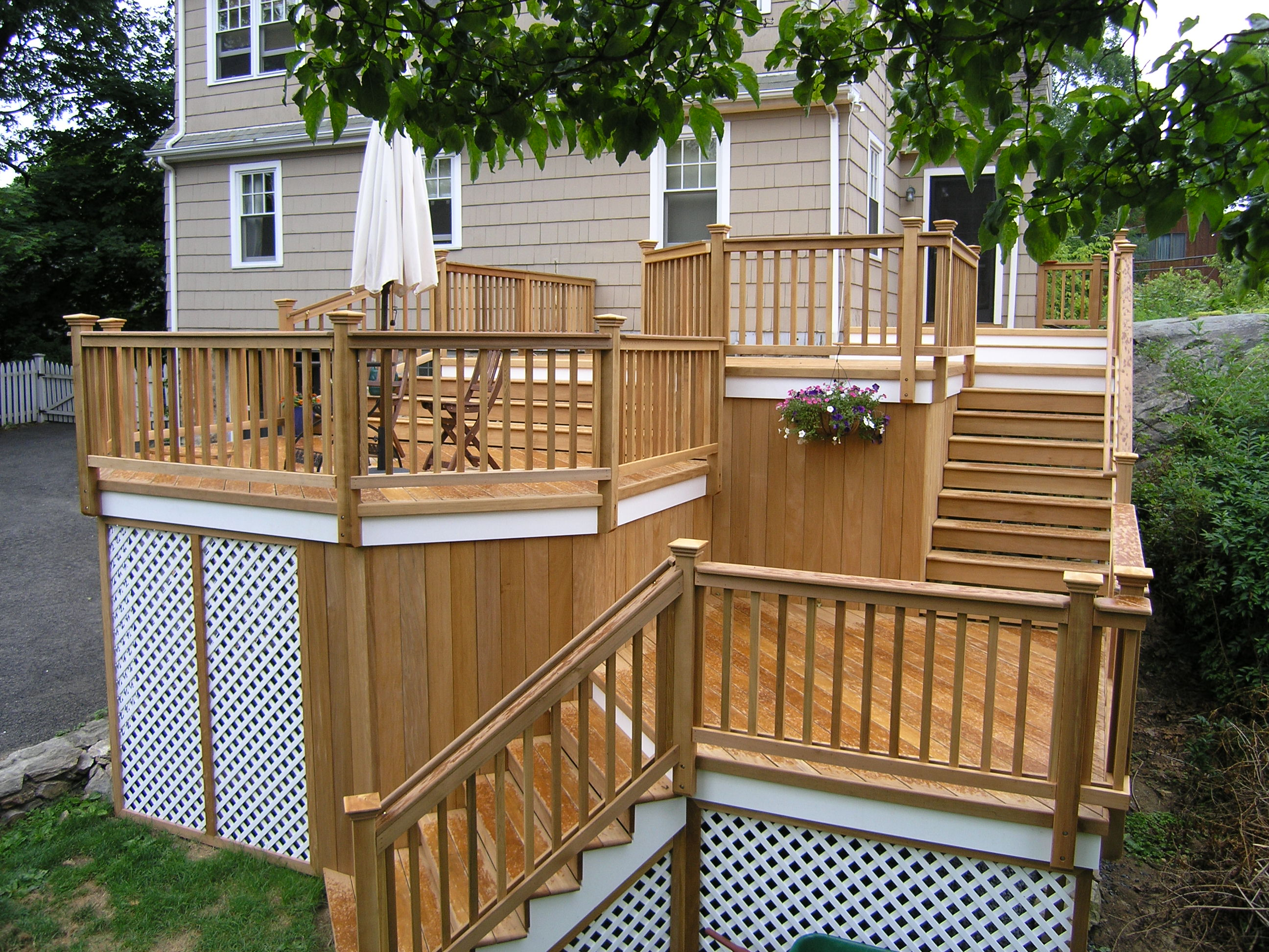 cos cob natural wood deck completed custom decks of fairfield county connecticut westchester. Black Bedroom Furniture Sets. Home Design Ideas